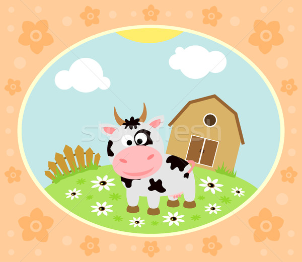 Farm background with cow Stock photo © Dimpens