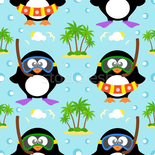 Photo stock: été · pingouin · vecteur · eau · enfants