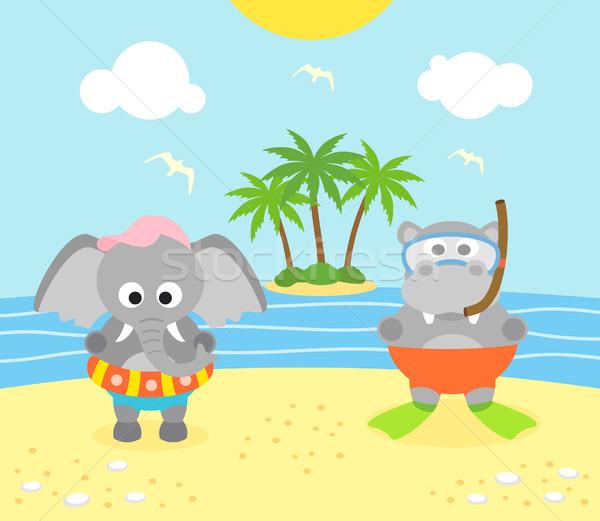 лет слон бегемот пляж смешные небе Сток-фото © Dimpens