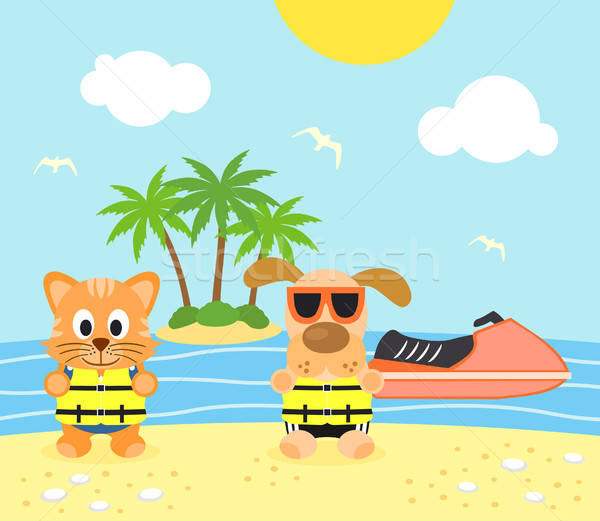 Summer background with dog and cat on the beach Stock photo © Dimpens