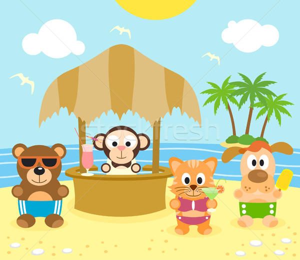 Summer background with animals on the beach Stock photo © Dimpens