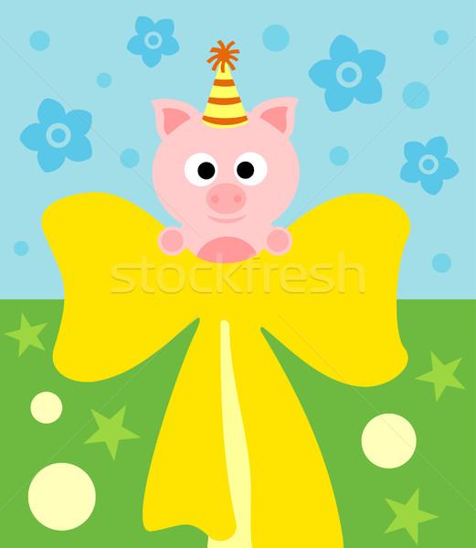 Cartoon carte porc drôle sourire fête Photo stock © Dimpens