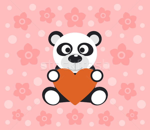 Background with panda cartoon Stock photo © Dimpens