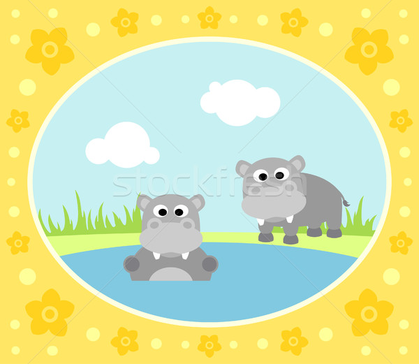 Safari background with hippopotamus Stock photo © Dimpens