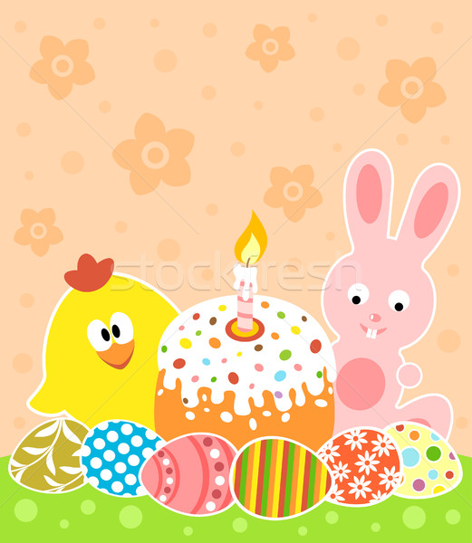 Easter background with bunny and chicken Stock photo © Dimpens