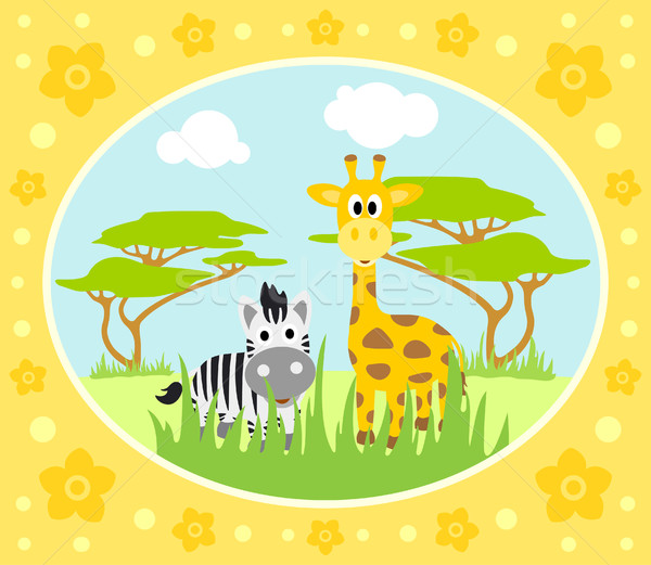 Safari background with zebra and giraffe Stock photo © Dimpens