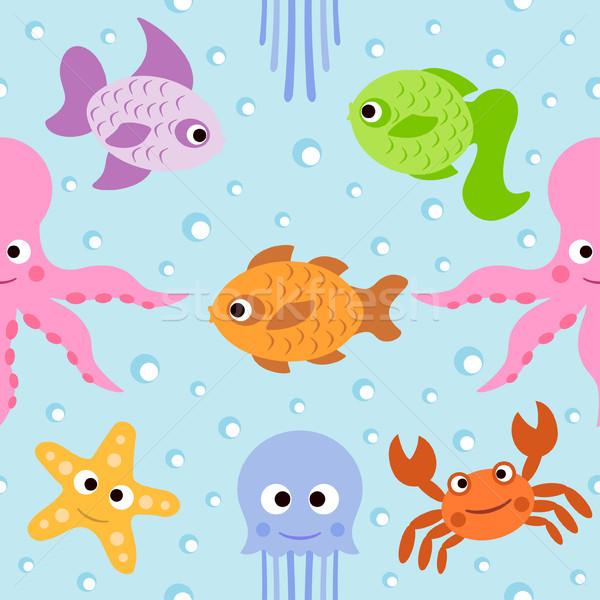 Stok fotoğraf: Deniz · hayvanları · kart · gülümseme · deniz · dizayn