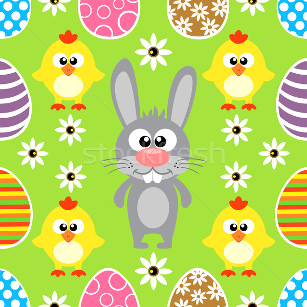 Seamless Easter  background with rabbit and chickens Stock photo © Dimpens