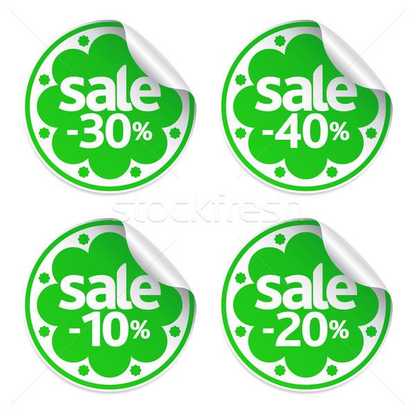 Meilleur vente vert autocollants printemps Photo stock © Dimpens