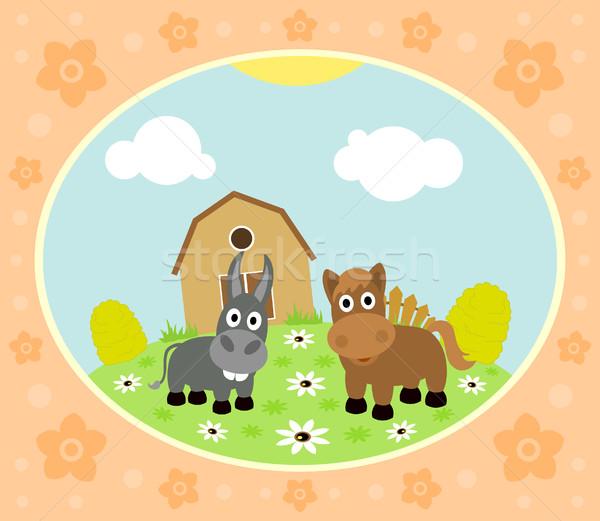 Boerderij paard ezel grappig gras landschap Stockfoto © Dimpens