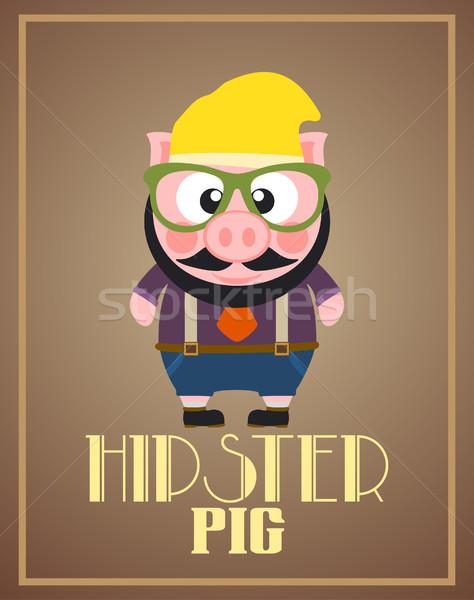 Drôle porc vecteur visage homme Photo stock © Dimpens