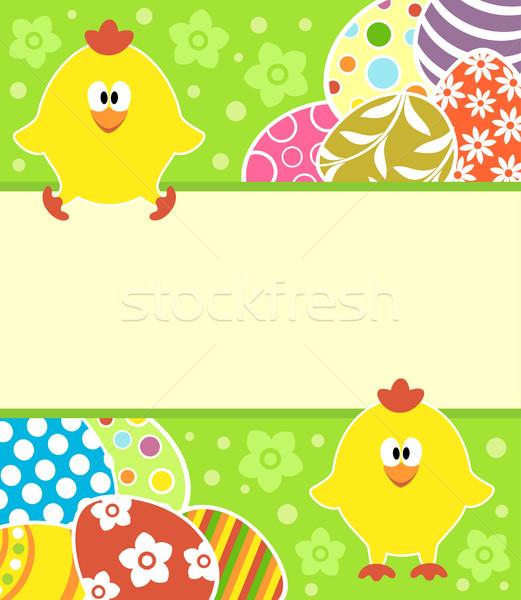 Paskalya yumurtası komik Paskalya kart yumurta bahar Stok fotoğraf © Dimpens