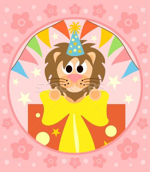 Photo stock: Cartoon · lion · drôle · fleur · sourire · fête