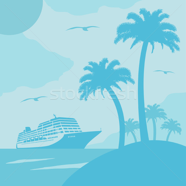 Summer background with ship Stock photo © Dimpens