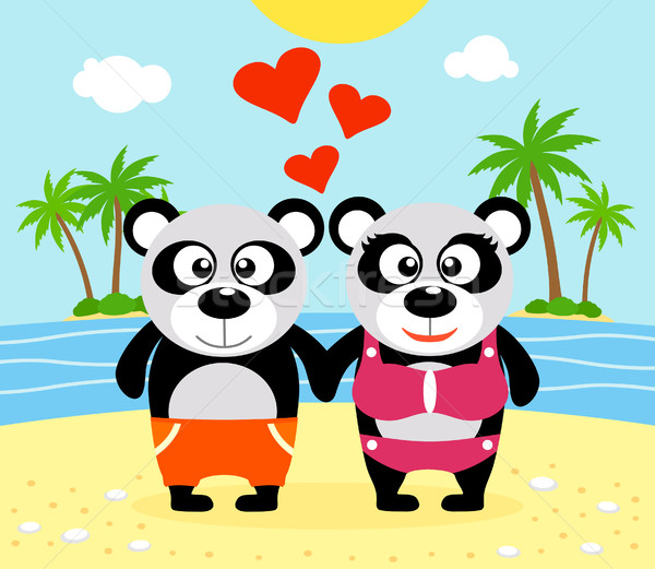 Romantic Summer  background with panda Stock photo © Dimpens