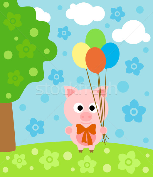 Cartoon  background with pig Stock photo © Dimpens
