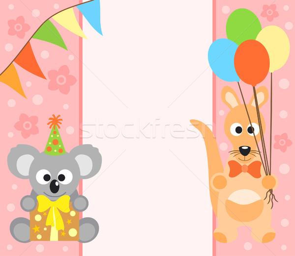 Koala kangoeroe grappig bloem glimlach partij Stockfoto © Dimpens