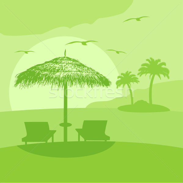 Summer background with lounge and umbrella Stock photo © Dimpens