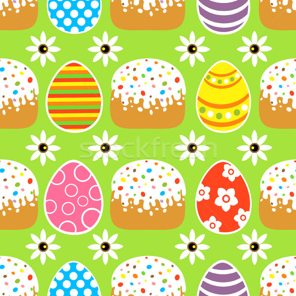 Seamless Easter  background  with cake ,green Stock photo © Dimpens