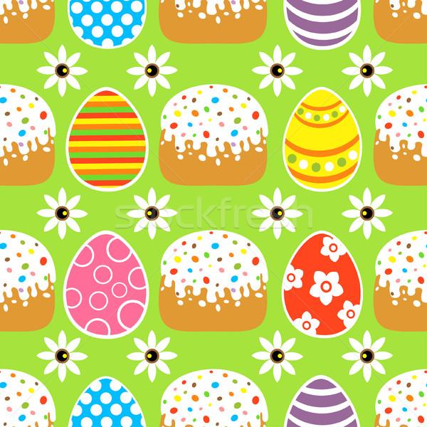 Végtelenített húsvét torta zöld kártya tavasz Stock fotó © Dimpens