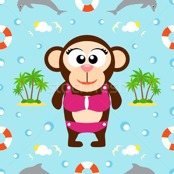 Nyár végtelenített majom vektor víz gyerekek Stock fotó © Dimpens