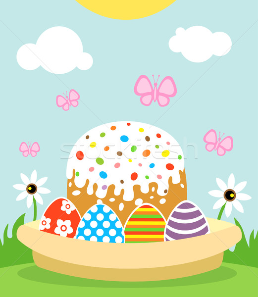 Happy Easter background with cake and eggs Stock photo © Dimpens