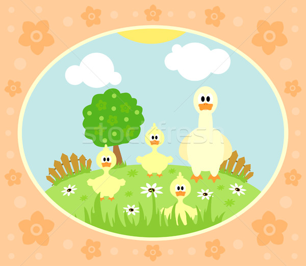 Farm background with goose Stock photo © Dimpens