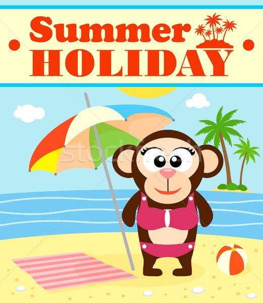 Summer holiday background with monkey Stock fotó © Dimpens