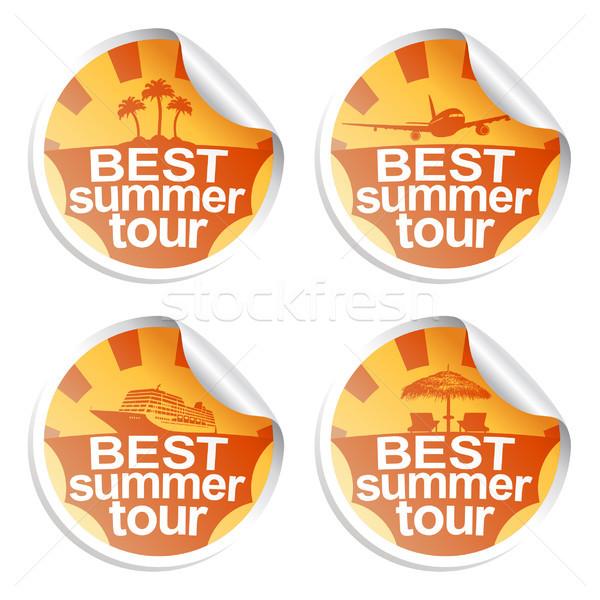 Nyár matricák szett legjobb turné fény Stock fotó © Dimpens