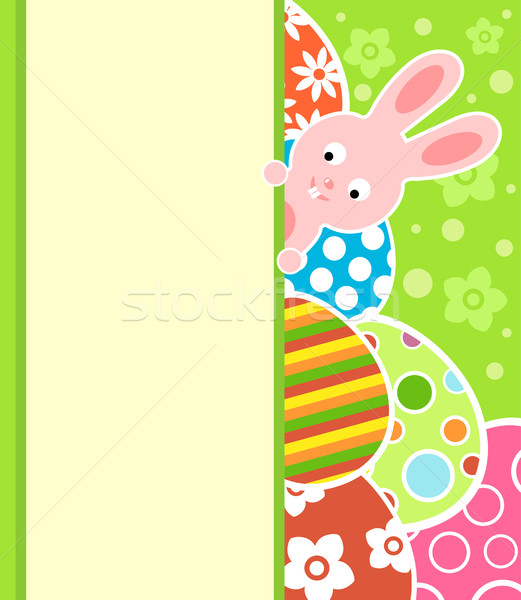 Easter background with eggs and bunny Stock photo © Dimpens