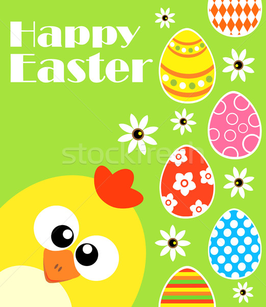 Happy Easter background with funny chicken ,green Stock photo © Dimpens