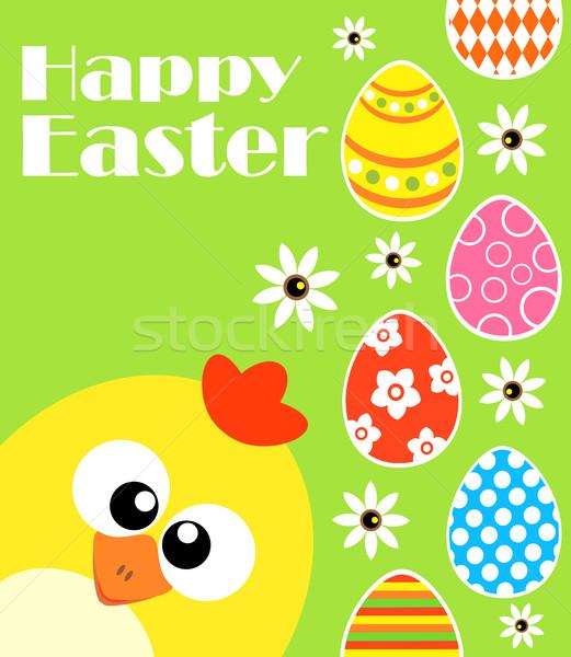Kellemes húsvétot vicces tyúk zöld kártya húsvét Stock fotó © Dimpens