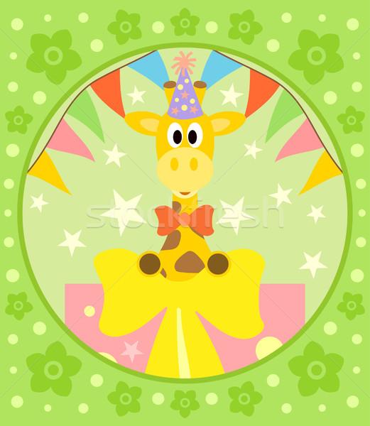 Cartoon girafe drôle fleur sourire fête Photo stock © Dimpens