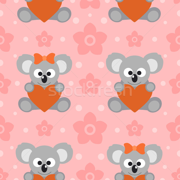 Seamless background card with koalas Stock photo © Dimpens