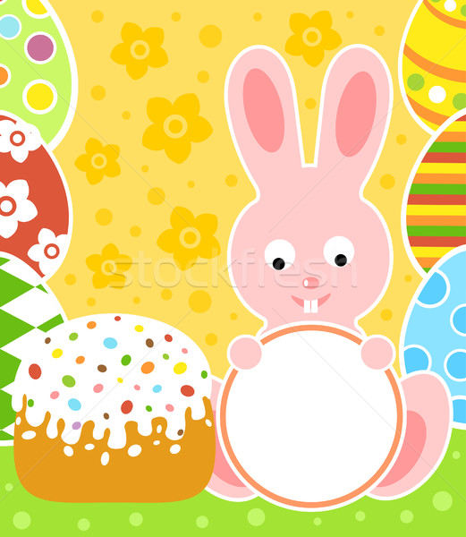 Easter background with rabbit and cake Stock photo © Dimpens
