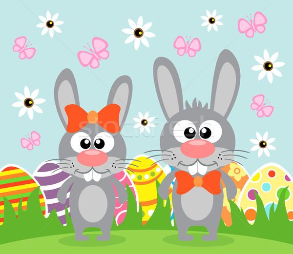 праздник Пасху смешные Кролики карт весны Сток-фото © Dimpens
