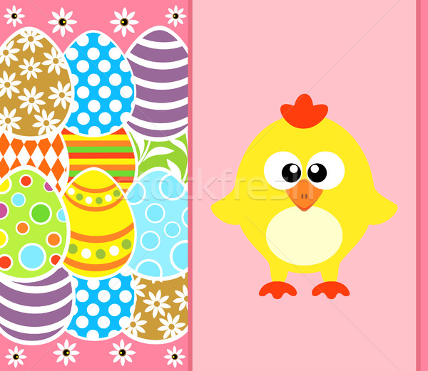 Easter background with eggs and funny chicken ,pink Stock photo © Dimpens