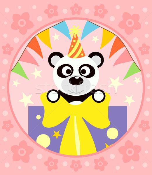 Stock photo: Cartoon  background  with panda
