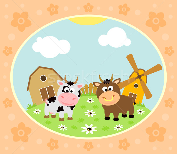 Farm background with cow and bull Stock photo © Dimpens