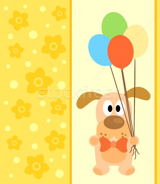 Carte chien drôle fleur sourire fête Photo stock © Dimpens