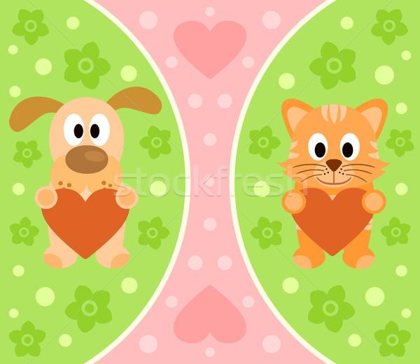 Cartoon chat chien drôle fleur sourire Photo stock © Dimpens