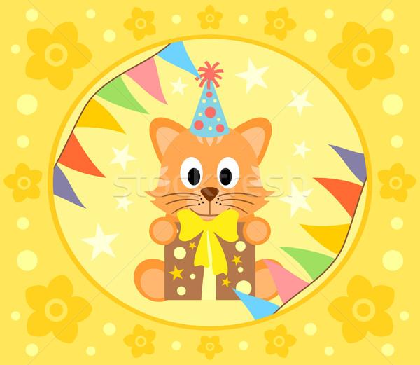 Cartoon chat drôle fleur sourire fête Photo stock © Dimpens