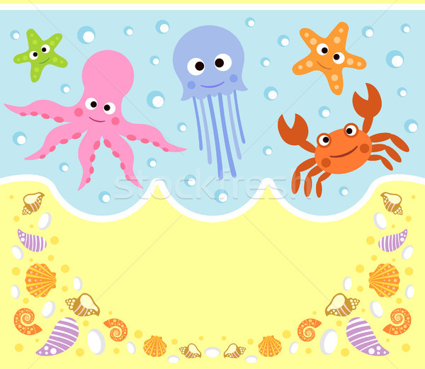 Animaux marins cartoon carte sourire mer design Photo stock © Dimpens