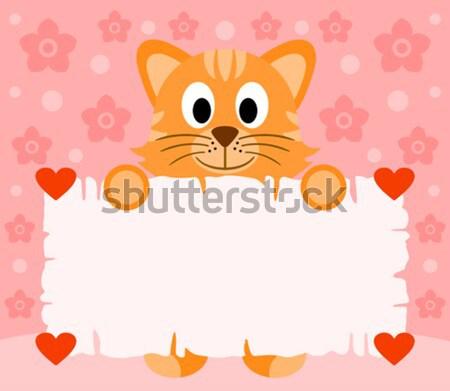 Cartoon chat drôle fleur sourire heureux Photo stock © Dimpens