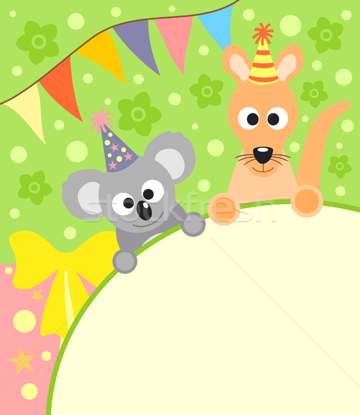 Background card  with koala and kangaroo Stock photo © Dimpens