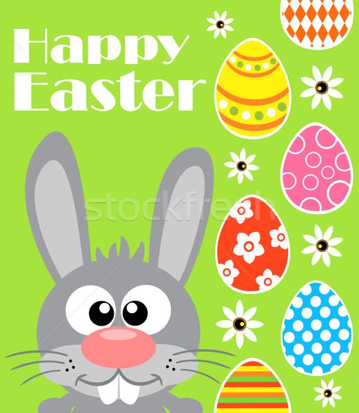 Kellemes húsvétot vicces zöld kártya nyúl húsvét Stock fotó © Dimpens