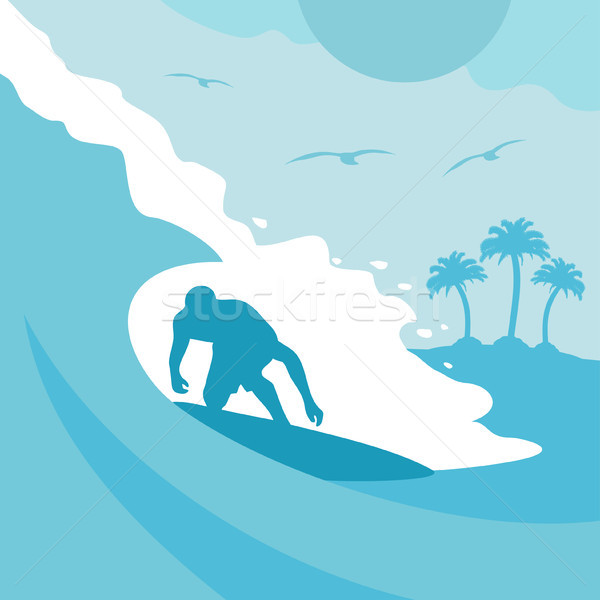 Summer background with surfer and wave Stock photo © Dimpens