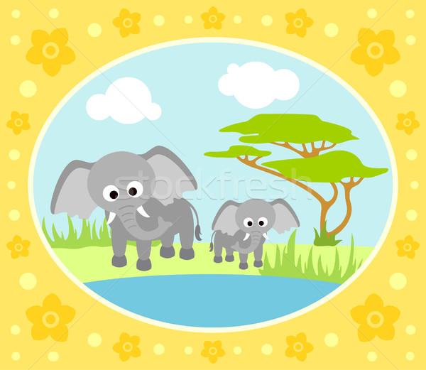 Safari olifanten kaart bloemen water landschap Stockfoto © Dimpens