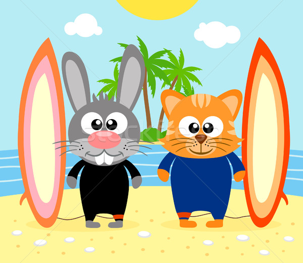 Summer background with rabbit and cat Stock photo © Dimpens