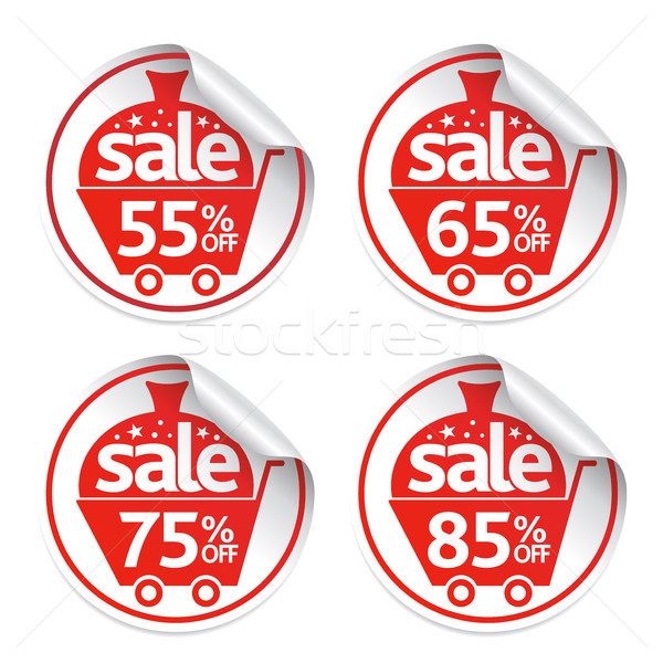 Holiday Set of New Year stickers sale vector Stock photo © Dimpens